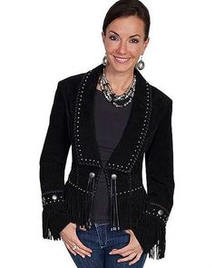 Scully Women's Long Lapel Suede Fringe Jacket Black X-Large *** More info could be found at the image url. Fringe Coats, Fringe Jacket, Coats For Women, Jackets For Women, Studded Jacket, Scully, Clothes, Cowgirl Style, Black Cowgirl