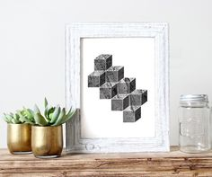 Geometric Minimalist Wall Art Black & White by pickApixelArt