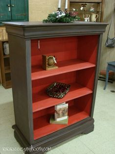 Old chest of drawers turned into a bookcase - I love the two-toned look. This would work with any cheap bookshelf....