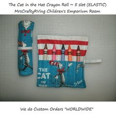 The Cat in the Hat, Crayon Roll Party Favor, Dr Seuss Birthday on Etsy, $2.25