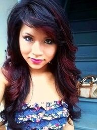 i want this but with dark brown hair  carmel instead of the red  (: