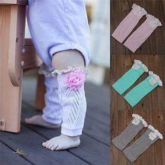 Flower Kids Girls Baby Knitted Lace Boot Cuffs Leg Warmer Footless Socks New pA