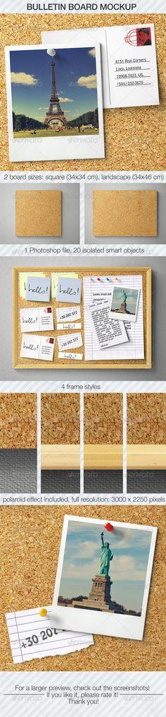 Bulletin Board Mockup — Photoshop PSD #information #pin • Available here → https://graphicriver.net/item/bulletin-board-mockup/5486384?ref=pxcr