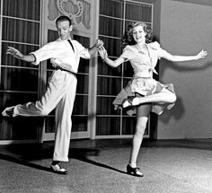 Fred Astaire and Rita Hayworth rehearsing