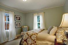 Beautiful bedroom walls in Sherwin Williams Rainwashed