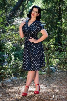 Pinup Girl Clothing Mikarose Retro Ariana Dress in Polka Dot in Navy XL New | eBay