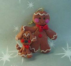 Polymer Clay Milestone Christmas Ornament Cake Topper Ginger w Gingerbread Pet Dog Cookie Baker