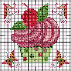 Cupcake X-stitch 2 of 2 Cross Stitch Freebies, Cross Stitch Cards, Cross Stitch Flowers, Counted Cross Stitch Patterns, Cross Stitch Designs, Cross Stitching, Cross Stitch Embroidery, Embroidery Patterns, Cupcake Cross Stitch