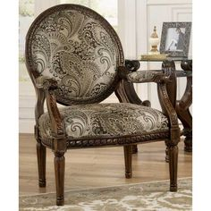 American Furniture Warehouse -- Virtual Store -- Meadow Paisley Showood Chair