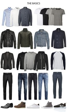 1001 Ideas for your Capsule Wardrobe Creating a Minimalist Style - Kind Shirt - Ideas of Kind Shirt - men's wardrobe essentials three different shirts four t-shirts and four jackets jeans and trousers sweaters and blazers four pairs of shoes Capsule Wardrobe Casual, Mens Wardrobe Essentials, Men's Wardrobe, Capsule Outfits, Men's Outfits, Minimalist Wardrobe Men, Minimalist Fashion, Minimalist Style, Minimalist Wardrobe Essentials
