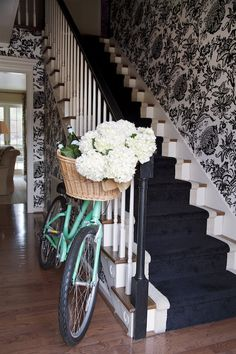 Love my Townie Cruiser and it looks extra cute in my entryway with fresh cut hydrangeas in tow.