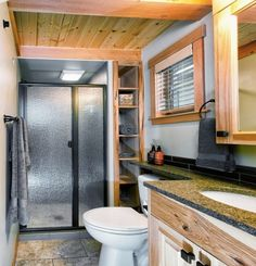 This is a 400 sq. San Juan Park Model Tiny Home by West Coast Homes and architect Mark Ouellette. The cottage is located in a lake resort community called Wildwood Lakefront Cottages. It offers… Tiny House Swoon, Tiny House Cabin, Tiny House Living, Tiny House Plans, Tiny House Design, Tiny House On Wheels, House Porch, Living Room, Bathroom Sink Skirt
