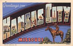 KANSAS CITY MO Large Letter Greetings Missouri Vintage Linen Postcard 1948