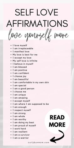 53 Self Love Affirmations - Positive Affirmations For Self Love - Curly Bun Mom