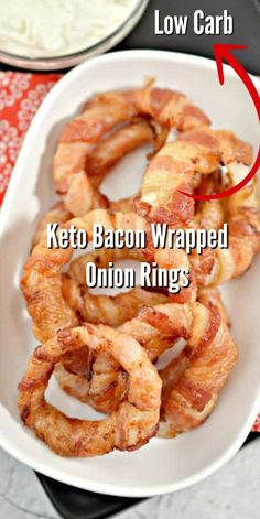 These Keto Bacon Wrapped Onion Rings make a delicious low carb snack or appetizer Easy to make fry on the stove top or make in the air fryer keto ketorecipes Ketosnacks ketodiet baconwrapped baconwrappedonionrings onionrings food recipes Low Carb Keto, Low Carb Recipes, Diet Recipes, Bacon Recipes Keto, Recipes Dinner, Paleo Snack Recipes, Low Carb Food, Easy Recipes, Air Fryer Recipes Low Carb