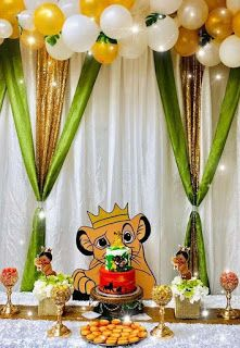 """The Lion King """"Hakuna Matata"""" Baby Shower Party Ideas Photo 1 of 14 Fiesta Baby Shower, Baby Shower Fun, Baby Shower Parties, Shower Party, Baby Party, Baby Showers, Lion Party, Lion King Party, Baby Shower Decorations For Boys"""