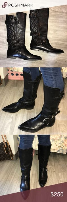 Burberry Leather Boots Incredible Burberry boots, unfortunately they're too small for my calves😩 One scuff on the side as shown and the heels are slowly getting worn as shown as well. Such high quality boots, you'll never want to take off these Burberry boots! Perfect for fall and winter! Feel free to make offers! Burberry Shoes Combat & Moto Boots