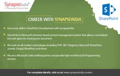 Grow your skills in SharePoint Development with SynapseIndia career options in SharePoint Development. Checkout: https://synapseindiacareer.wordpress.com/2017/06/13/synapseindia-career-boost-your-skills-in-sharepoint-development/