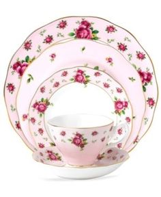 Royal Albert Dinnerware, Old Country Roses Pink Vintage 5 Piece Place Setting - Fine China - Dining & Entertaining - Macy's Fine China Dinnerware, Casual Dinnerware, Vintage Dinnerware, Classic Dinnerware, Red Dinnerware, Holiday Dinnerware, Royal Albert, Rose Vintage, Vintage China