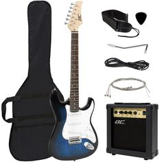 Amazon.com: Full Size Blue Electric Guitar with Amp, Case and Accessories Pack Beginner Starter Package: Musical Instruments