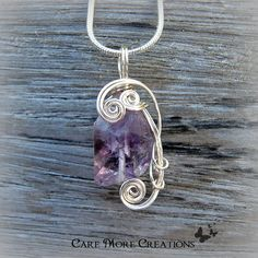 Amethyst Crystal Wire Wrapped Pendant by CareMoreCreations.com, $25.00