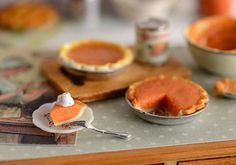 Miniature Making Pumpkin Pie Set by CuteinMiniature on Etsy