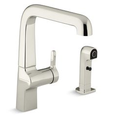 "Evoke Single-Hole Kitchen Sink Faucet with 9"" Spout, Matching Finish Sidespray"