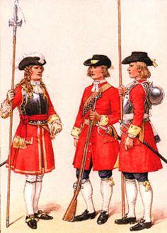 Worcestershire Regiment, 1694. Officer, musketeer, pikeman.
