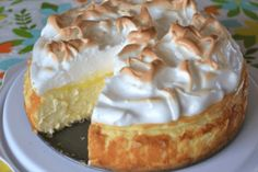 """""""Love lemon meringue pie and cheesecake? Well this is the best of both worlds. Great any time of year and sure to impress your guests."""" This Lemon Meringue Cheesecake is made with a buttery graham cracker crust, creamy Basic Cheesecake, Lemon Meringue Cheesecake Factory Recipe, Eggnog Cheesecake, Baked Lemon Cheesecake, Best Lemon Meringue Pie, Japanese Cheesecake Recipes, Chocolate Mousse Cheesecake, Cookie Cheesecake, Dairy Free Cheesecake"""