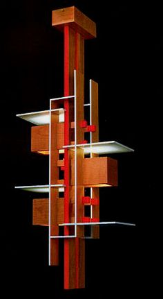 taliesin pendant designed by frank lloyd wright cherry wood with light blue plates and red. Black Bedroom Furniture Sets. Home Design Ideas