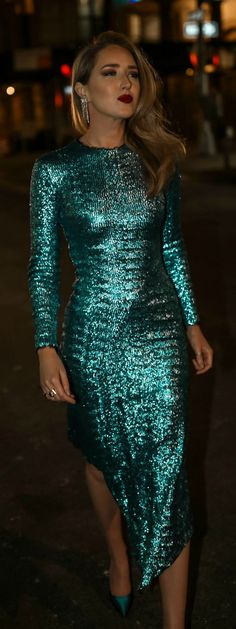 4bb198414c Click for outfit details!    Teal sequin sheath dress with asymmetrical  hem