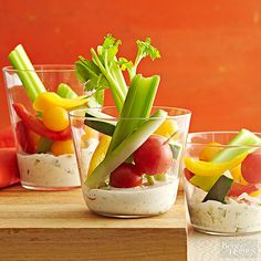 This lunch side dish offers colorful crunch in minutes. Stir together 1/4 cup ranch salad dressing with 1/4 cup coarsely shredded cucumber and 1/8 teaspoon dried dill. Place in the bottom of a travel-ready container and, at noon, just add veggies.