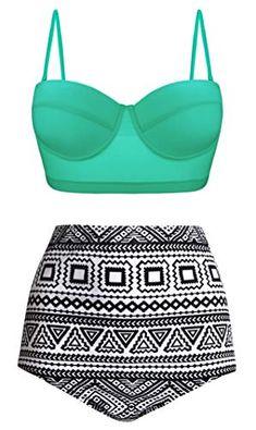 9844daa3ce9bc Angerella Women Vintage Polka Dot High Waisted Bathing Suits Bikini Set