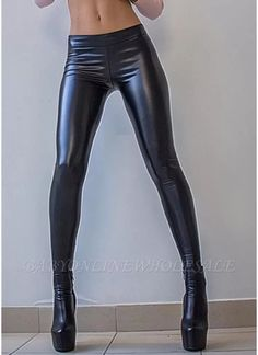 Shiny Metallic Color Elastic Waist Skinny Sexy Pencil Pants from Babyonlinewholesale. Best affordable Leggings online store, cheap discounts are waiting for you. Leggings Mode, Shiny Leggings, Sports Leggings, Leggings Fashion, Faux Leather Leggings, Leggings Are Not Pants, Printed Leggings, Hot Pants, Latex Pants