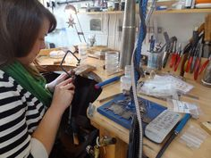 Jeweller Natalie Harris in her workshop in the Harley Studios