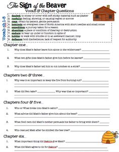 Sign of the Beaver Free Printable Novel Study and Test!