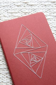 Double Triangle Whirl Notebook/Journal/Sketchbook Vertical - Sacred Geometry : Red with Light-Gray Contemporary Embroidery by TheInfiniteThread on Etsy