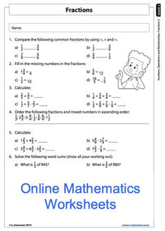 Education worksheets for Grade R - 12 - E-Classroom Mental Maths Tests, 4th Grade Math Worksheets, Math 5, Fractions Worksheets, Math Test, Teacher Worksheets, 5th Grade Math, Expanded Form Math, Math Place Value