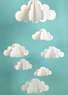 Your place to buy and sell all things handmade Cloud Mobile, Hanging Baby Mobile, Paper Mobile, N Diy And Crafts, Crafts For Kids, Arts And Crafts, Paper Craft For Kids, Summer Crafts, Handmade Crafts, Paper Clouds, 3d Clouds, Balloon Clouds