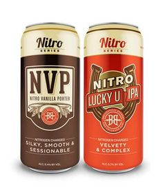 Nitro Vanilla Porter and Nitro Lucky U IPA will be the first Breckenridge Brewery nitro-carbonated canned beers, which are available in 4-packs. #beer #beernews
