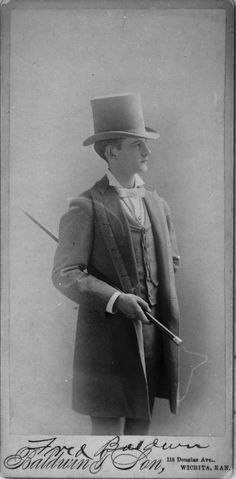 """Top Hat & Walking Stick. Cabinet Card Photo of William F. """"Fred"""" Baldwin"""