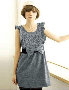 Charming Lotus Leaf Sleeve High Waist Bowknot Dress Gray