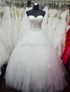 Wholesale Strapless Wedding Dresses Bridal gown Fully sequins and beaded bodice Tulle Ball gown skirt Y284, Free shipping, $170.45/Piece | DHgate