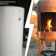 DIY Electric Water Tank to a Outdoor Wood Heater This is a cool DIY project for you to get your hands dirty with this summer. I won't lie. It looks complicated, but doable. Old electric water tanks are everywhere online, Diy Wood Stove, Rocket Stoves, Rocket Stove Water Heater, Stove Heater, Patio Heater, Into The Woods, Wood Burner, Welding Projects, Diy Welding
