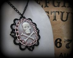 Pink Chain Skull Cameo Necklace by SideshowAccessories on Etsy, $34.00