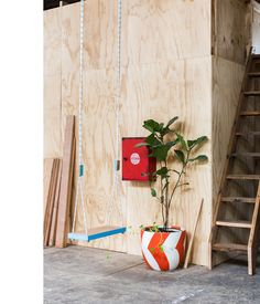 Pop & Scott Workshop Cooperative - The Design Files Plants Indoor, Potted Plants, Pop And Scott, Maker Studios, Indoor Swing, The Design Files, Light Architecture, Stone Work, Interior Walls