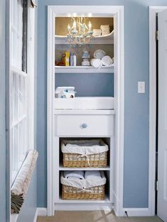 Take off closet door to make cute changing area!