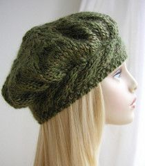 A flattering style women's hat. This beret knits up quickly in chunky weight yarn. The headband is knitted first to fit the head circumference. Stitches are picked up from along the head band edge to make the crown which is knitted in the round on double pointed needles.