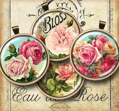 COTTAGE ROSE Circles Digital Collage Sheet 2 Inch by GalleryCat