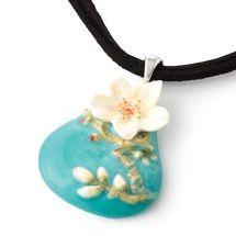 Van Gogh Almond Flower Design Rhodium Necklace